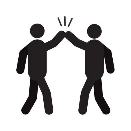 Ilustración de High five hand gesture silhouette icon - Imagen libre de derechos
