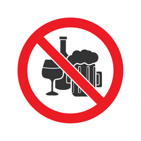 Illustrazione per Forbidden sign with alcohol drinks glyph icon Vector isolated illustration - Immagini Royalty Free