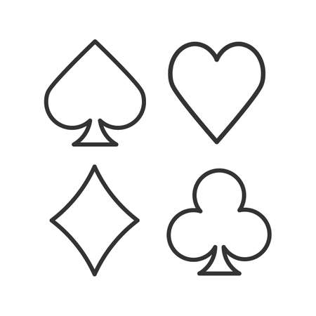 Illustration pour Suits of playing cards linear icon Vector isolated outline drawing - image libre de droit