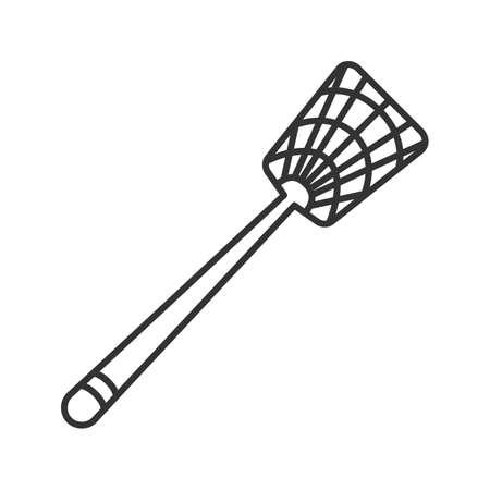 Ilustración de Fly-swatter linear icon. Houseflies, wasps, moths, gnats killing device. Thin line illustration. Contour symbol. Vector isolated outline drawing - Imagen libre de derechos