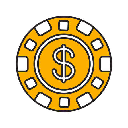 Casino chip color icon. Gambling token with dollar sign. Isolated vector illustration