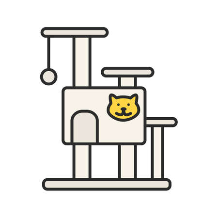 Cat's tree house color icon.:: tasmeemME.com