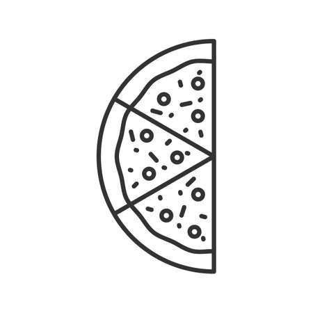 Ilustración de Half of pizza linear icon. Thin line illustration. Contour symbol. Vector isolated outline drawing - Imagen libre de derechos