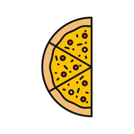 Ilustración de Half of pizza color icon. Pizzeria sign. Isolated vector illustration - Imagen libre de derechos