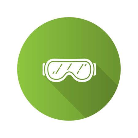Ski goggles flat design long shadow glyph icon. Snow glasses. Safety eyeglasses. Vector silhouette illustration