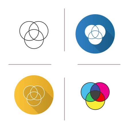 Ilustración de Cmyk or rgb color circles icon. Venn diagram. Overlapping circles. Flat design, linear and color styles. - Imagen libre de derechos