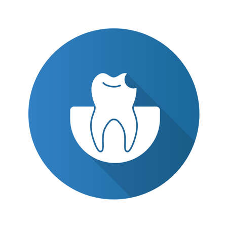 Broken tooth flat design long shadow glyph icon. Chipped tooth.
