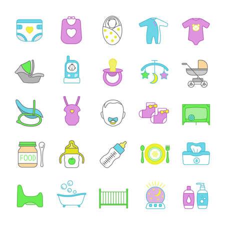 Foto de Childcare color icons set. Equipment, clothes, carriages, car seats, nutrition for babies. Isolated vector illustrations - Imagen libre de derechos