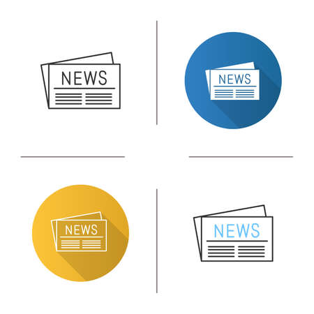 Newspaper icon. Periodical publication. Flat design, linear and color styles. Isolated vector illustrations