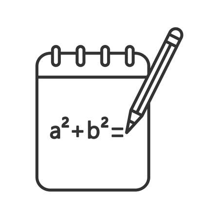 Notebook with math formula linear icon. Thin line illustration. Rough draft. Algebra calculations. Contour symbol. Vector isolated outline drawing