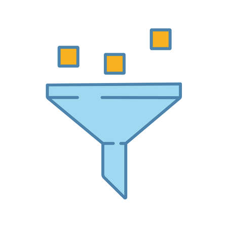 Data filtering system color icon. Machine learning process. Data mining. Funnel. Statistics gathering. Isolated vector illustration