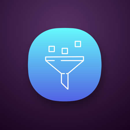 Data filtering system app icon. Machine learning process. Data mining. Funnel. Statistics gathering. UI/UX user interface. Web or mobile application. Vector isolated illustration