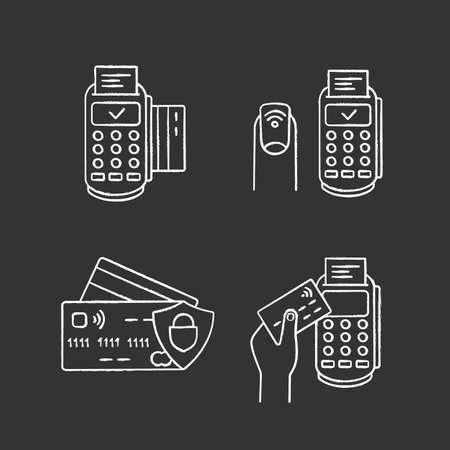 NFC payment chalk icons set  POS terminal, NFC manicure, credit