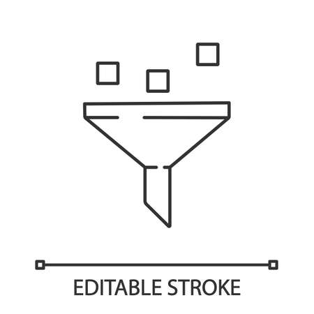 Data filtering system linear icon. Thin line illustration. Machine learning process. Data mining. Funnel. Statistics gathering. Vector isolated outline drawing. Editable stroke