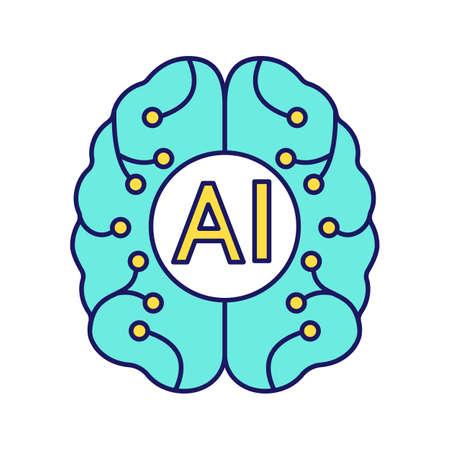 Illustration pour Artificial intelligence color icon. Digital brain. Neurotechnology. AI. Isolated vector illustration - image libre de droit