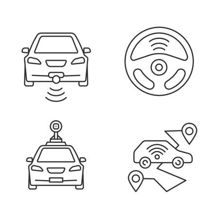 Smart cars linear icons set  NFC autos  Intelligent vehicles  Self