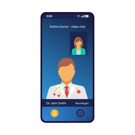 Illustration pour Online doctor consultation smartphone interface vector template. Mobile app page blue design layout. Video chat, medical appointment with neurologist screen. Flat UI for application. Phone display - image libre de droit