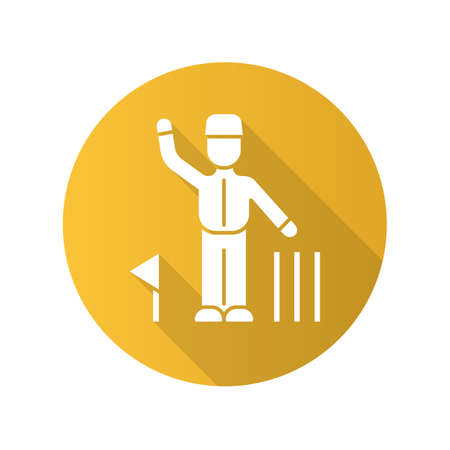 Cricket judge flat design long shadow glyph icon. Umpire signals decision. Arbitrator follow game. Man in uniform, flag and wicket. Sport competition, tournament. Vector silhouette illustration