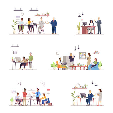 Illustration pour Office work organization flat vector illustrations set. Teamwork, colleagues interaction, coworking. Team performance. Business people and secretaries, personal assistants isolated characters - image libre de droit
