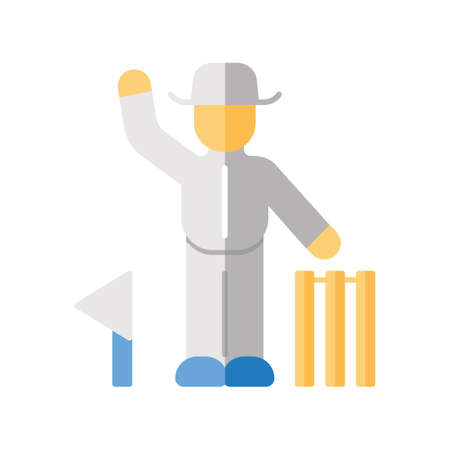 Cricket judge flat design long shadow color icon. Umpire signals decision. Arbitrator follow game. Man in uniform, flag and wicket. Outdoor sports activity. Vector silhouette illustration