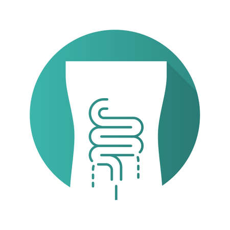 Ill intestines flat design long shadow glyph icon. Sore human organ. People disease. Unhealthy digestive system. Sick internal body part. Gastrointestinal tract. Vector silhouette illustration