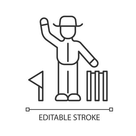 Cricket judge linear icon. Umpire signals decision. Arbitrator follow game. Man in uniform, flag and wicket. Thin line illustration. Contour symbol. Vector isolated outline drawing. Editable stroke