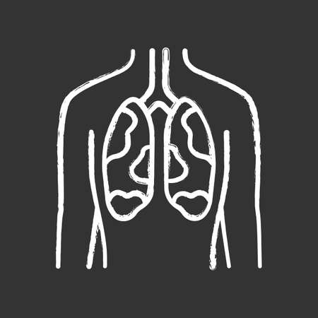 Ill lungs chalk icon. Sore human organ. Tuberculosis, cancer. Unhealthy pulmonary system. Sick internal body part. Respiratory health. Isolated vector chalkboard illustration
