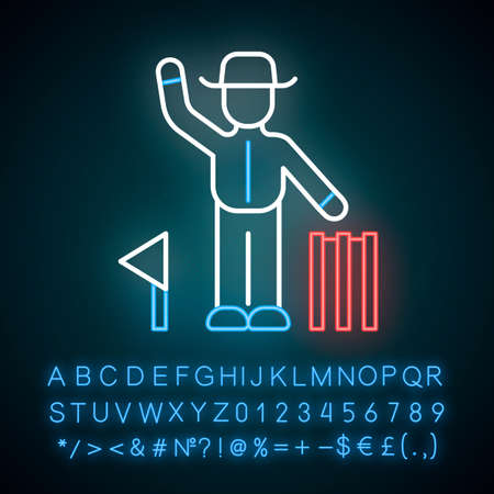 Cricket judge neon light icon. Umpire signals decision. Arbitrator follow game. Man in uniform, flag and wicket. Glowing sign with alphabet, numbers and symbols. Vector isolated illustration