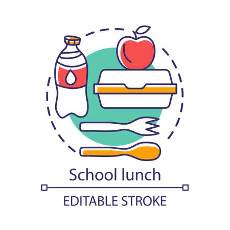 Illustration pour School lunchtime, meal break concept icon. Catering advertising idea thin line illustration. Milk bottle, lunch box, apple, and plastic cutlery vector isolated outline drawing. Editable stroke - image libre de droit