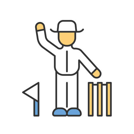 Cricket judge color icon. Umpire signals decision. Arbitrator follow game. Man in white uniform, flag and wicket. Sport competition, tournament. Outdoor sports activity. Isolated vector illustration