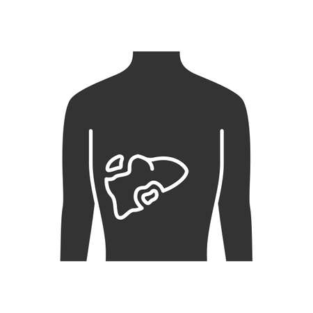 Ill liver glyph icon. Silhouette symbol. Hepatitis, cirrhosis. Sore human organ. Digestive gland. Sick internal body part. Gastrointestinal tract. Negative space. Vector isolated illustration