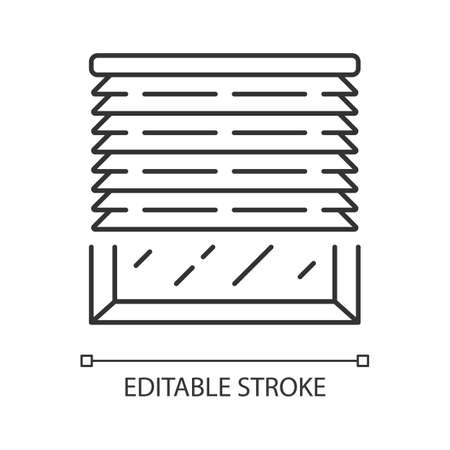 Venetian blinds linear icon. Window jalousie, treatments. Kitchen, living room shutters. Home interior design. Thin line illustration. Contour symbol. Vector isolated outline drawing. Editable stroke