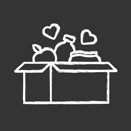 Ilustración de Food donations chalk icon. Charity food collection. Box with meal, hearts. Humanitarian volunteer activity. Helping people in need. Hunger support program. Isolated vector chalkboard illustration - Imagen libre de derechos