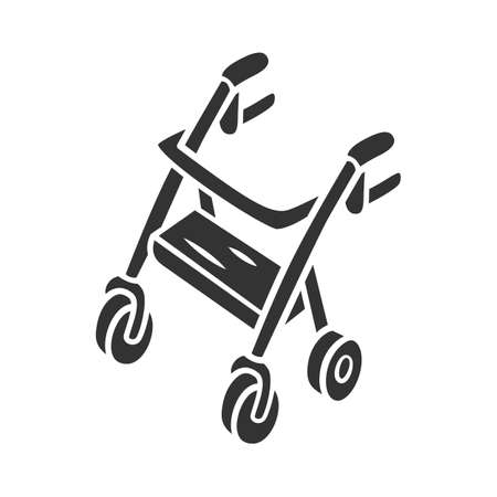 Rollator walker glyph icon.  Mobility aid device for physically disabled people. Pensioner, elderly four wheel walker equipment. Silhouette symbol. Negative space. Vector isolated illustration
