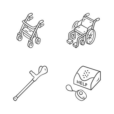 Disabled devices linear icons set. Rollator, manual wheelchair, forearm crutch, personal emergency response system. Thin line contour symbols. Isolated vector outline illustrations. Editable stroke