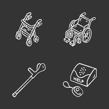 Disabled devices chalk icons set. Rollator, manual wheelchair, forearm crutch, personal emergency response system. Mobility aid, handicapped equipment. Isolated vector chalkboard illustrations