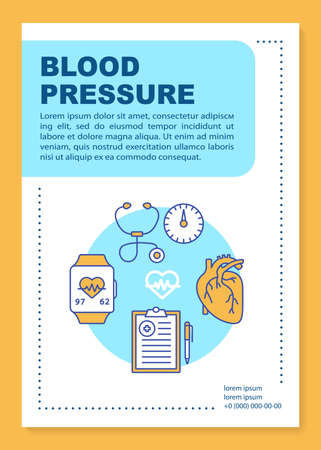 Illustration pour Blood pressure brochure template layout. Heart functioning monitoring. Flyer, booklet, leaflet print design with linear illustrations. Vector page layouts for annual reports, advertising posters - image libre de droit