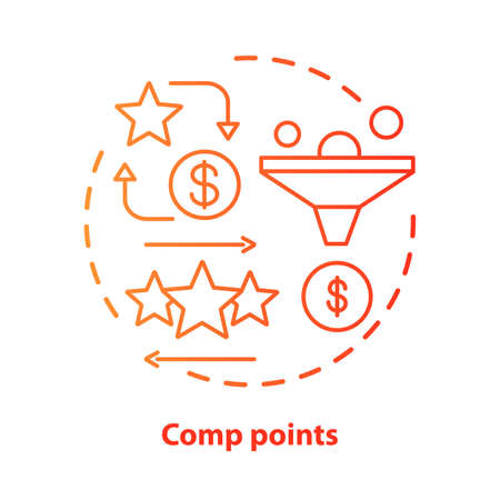 Casino comp points concept icon. Redeem points and bonuses idea thin line illustration. Cashback and reward offer. Loyalty reward program. Vector isolated outline drawing