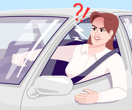 Ilustración de Driving stress flat vector illustration. Annoyed businesswoman yelling in car cartoon character. Irritated young driver in automobile, standing in traffic jam. Stressful commuting to work - Imagen libre de derechos