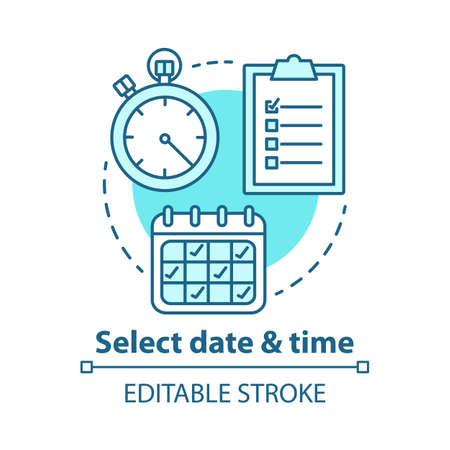 Illustration pour Select date and time concept icon. Choose day, hour thin line illustration. Making reservation. Time management, scheduling. Calendar, stopwatch. Vector isolated outline drawing. Editable stroke - image libre de droit
