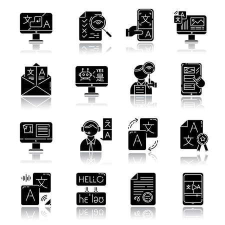 Ilustración de Language translation service drop shadow black glyph icons set. Instant translation. Audio, video interpretation. Multilingual app, chatbot. Transcription, proofreading. Isolated vector illustrations - Imagen libre de derechos