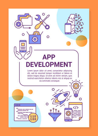 Illustration pour App development poster template layout. Mobile programming. Wireless technology. Banner, booklet, leaflet print design with linear icons. Vector brochure page layout for magazines, advertising flyers - image libre de droit