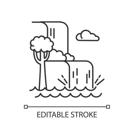 Waterfall landscape linear icon. Vacation to Indonesia. Tropical jungle rivers. Water cascade in rainforest. Thin line illustration. Contour symbol. Vector isolated outline drawing. Editable strokeのイラスト素材
