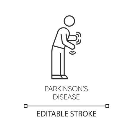 Illustration pour Parkinson's disease linear icon. Shaking, rigidity. Parkinsonism. Parkinsonian syndrome. Mental health issue. Thin line illustration. Contour symbol. Vector isolated outline drawing. Editable stroke - image libre de droit