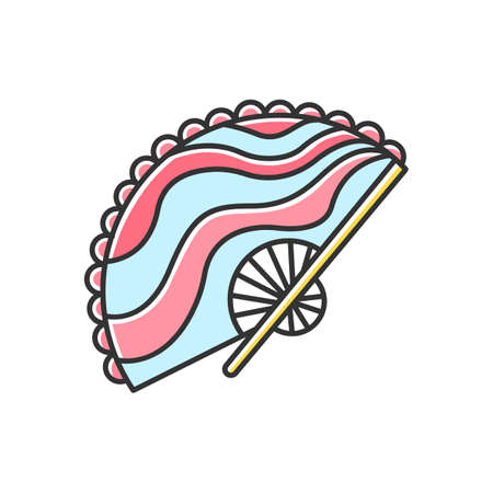 Red and blue handheld fan color icon. Indonesian handmade fabric. Balinese crafts and arts tradition. Colorfully decorated fan. Typical souvenir from Bali. Isolated vector illustration