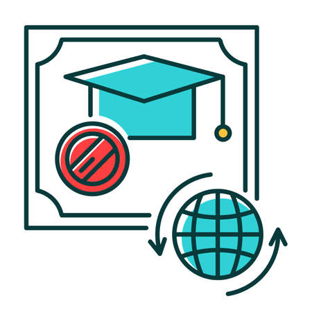 Diploma RGB color icon. Internationally accepted school certificate. Graduation confirmation. Academic document. Qualification. Degree. Education. Attestation. Isolated vector illustration