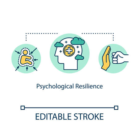 Psychological resilience concept icon. Mental health idea thin line illustration. Positive thinking. Managing stress. Coping with anxiety. Vector isolated outline RGB color drawing. Editable stroke