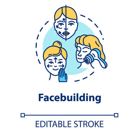 Facebuilding, face massage concept icon. Cosmetology, anti-aging procedure, youth and beauty idea thin line illustration. Vector isolated outline RGB color drawing. Editable stroke
