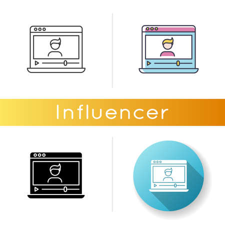 Illustration for Vlogger icon. Influencer on social media platform. Watch recording online. Stream video on internet. Livestream from blogger. Linear black and RGB color styles. Isolated vector illustrations - Royalty Free Image