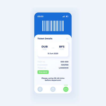 Online booking application smartphone interface vector template. Mobile app page light theme design layout. Ticket details screen. Flat UI for application. Additional information on phone display